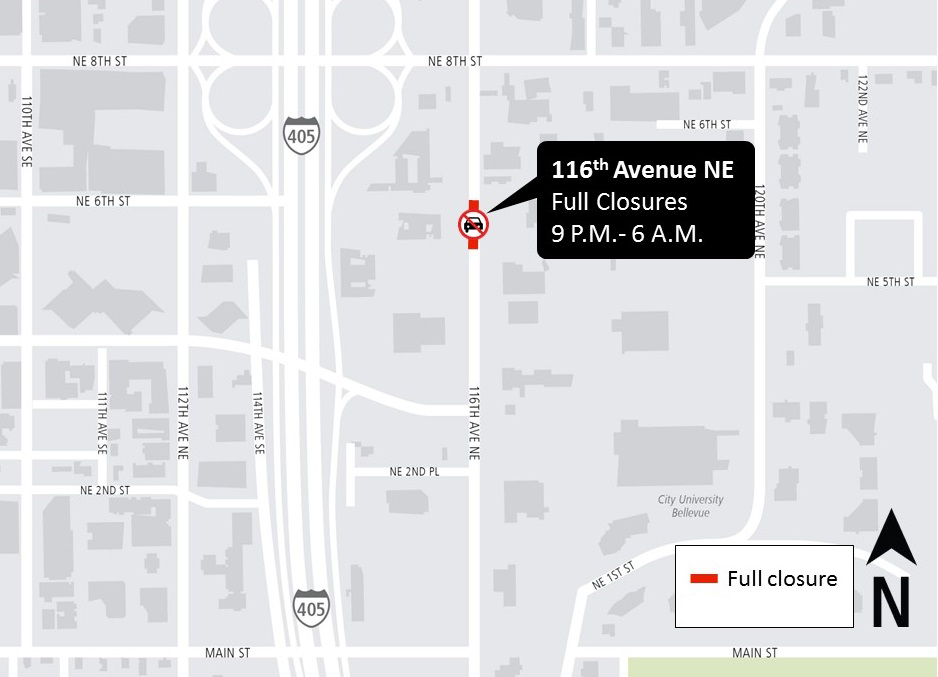 Map of 116th Avenue Northeast street closure in Bellevue.
