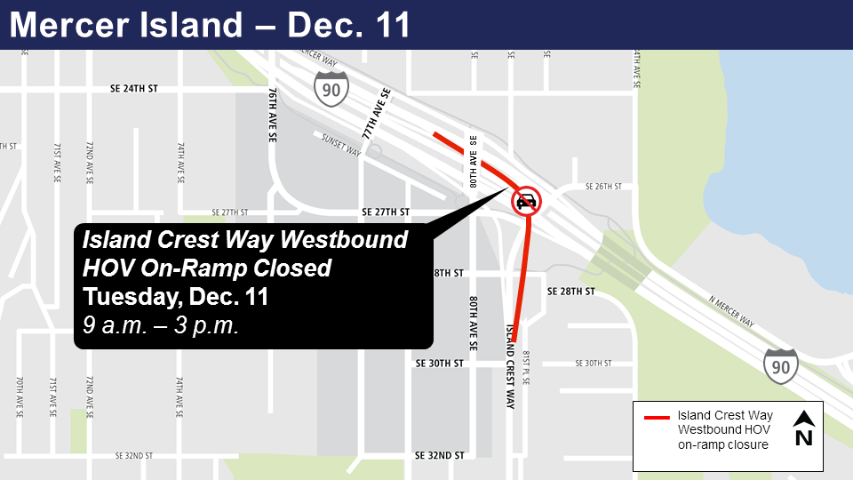 Map of Westbound Island Crest Way HOV on-ramp closures.