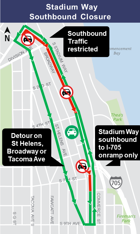 Map of Stadium Way southbound closures.