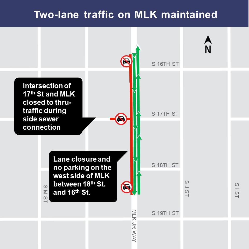 Map of MLK construction impacts.