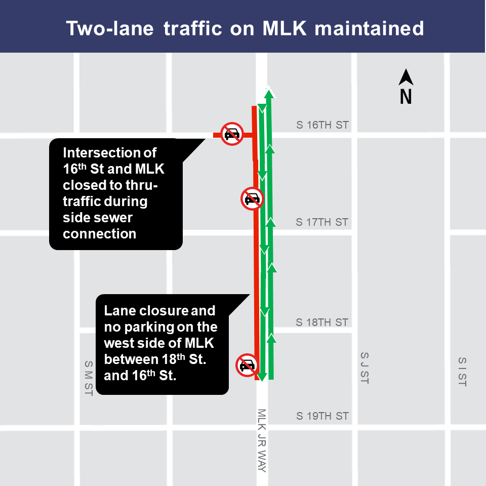 Map of MLK lane restrictions, week of Dec. 10th
