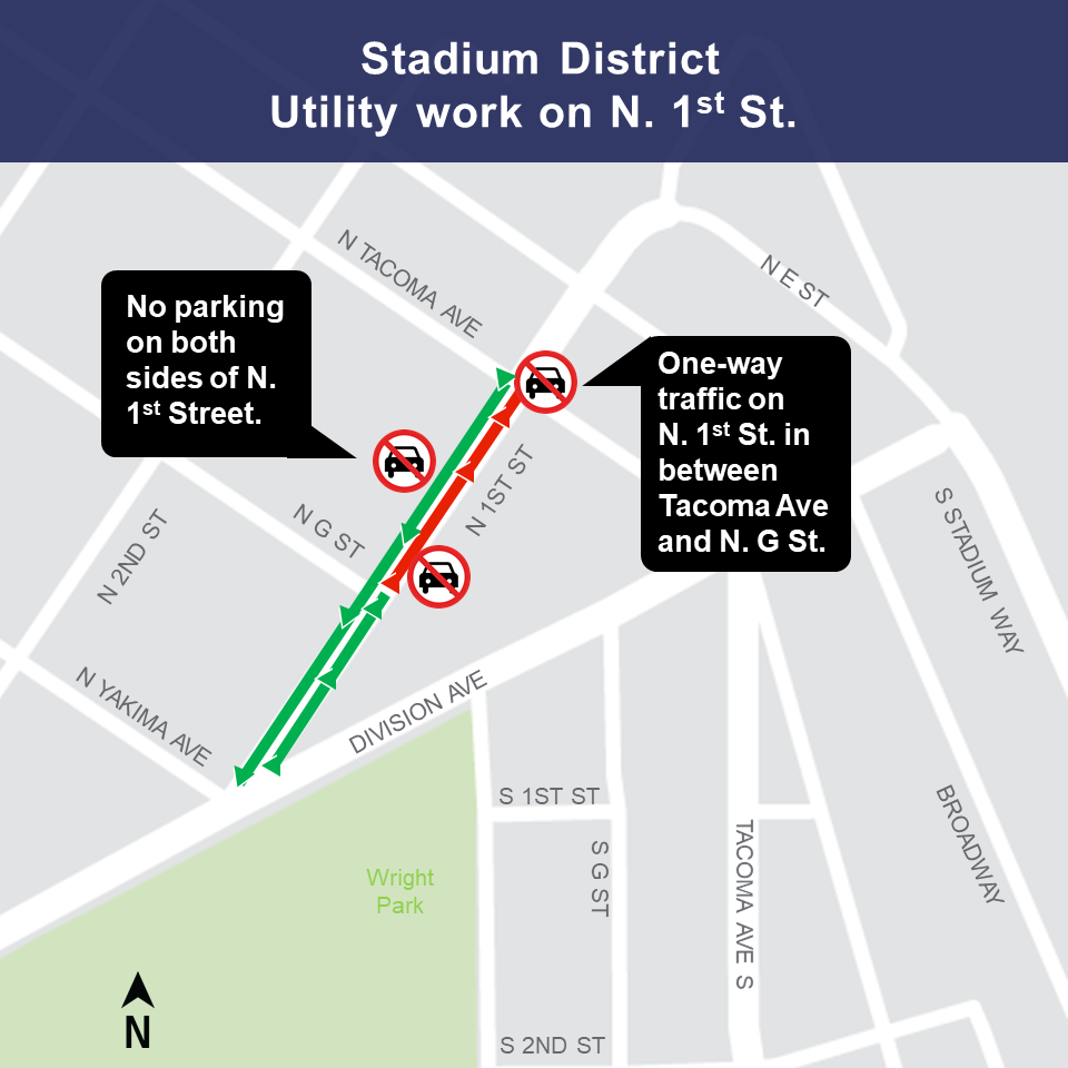 Map of utility work in the Stadium District in early January.