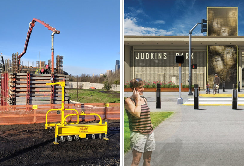 Image of elevator shaft concrete form and rendering of station entrance at Judkins Park, East Link Extension