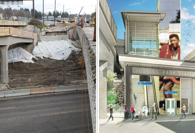Image of demolition, excavation and rendering of station entrance at Judkins Park Station, East Link Extension