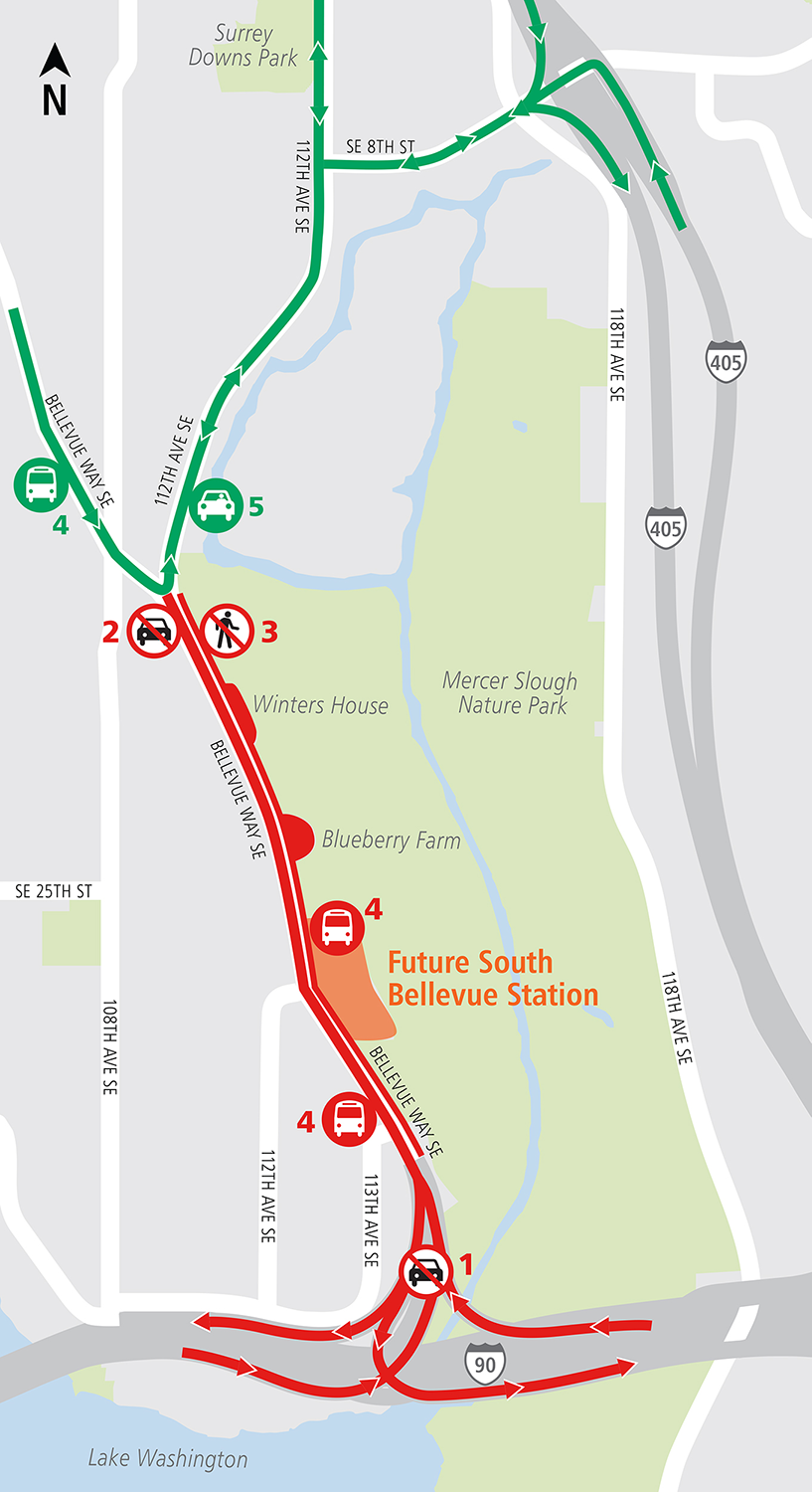 East Link South Bellevue all I-90 ramps closed map