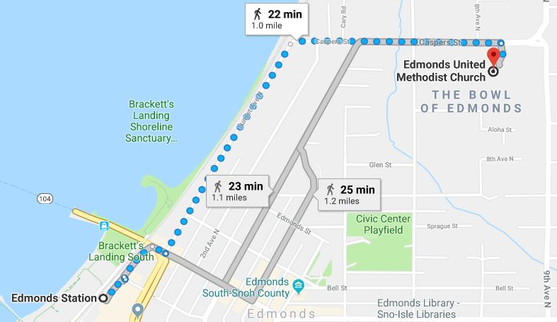 Walking map showing the route from the Edmonds United Methodist Church to Edmonds Station.