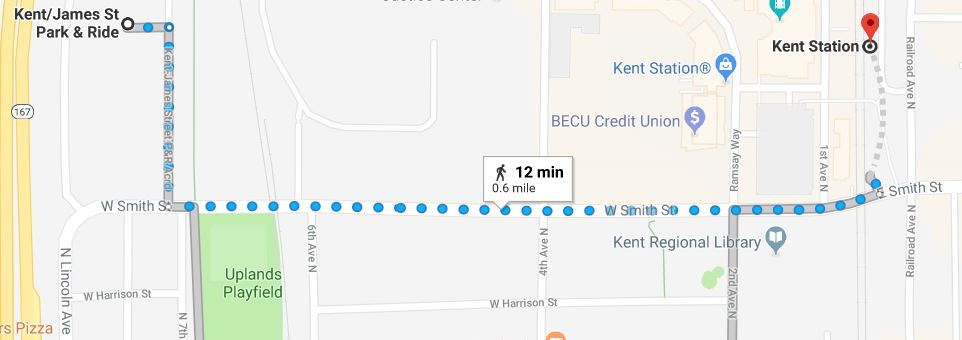 Walking map showing the route from the Kent/James Street Park and Ride to the Kent Sounder Station