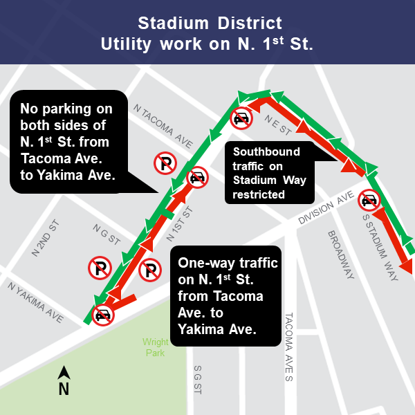 Map of construction area near N 1st St and Stadium District 1/17/19