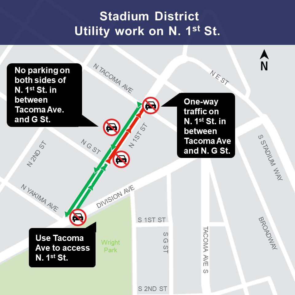 Image of MLK and Stadium Way traffic impacts in Tacoma, January 2019