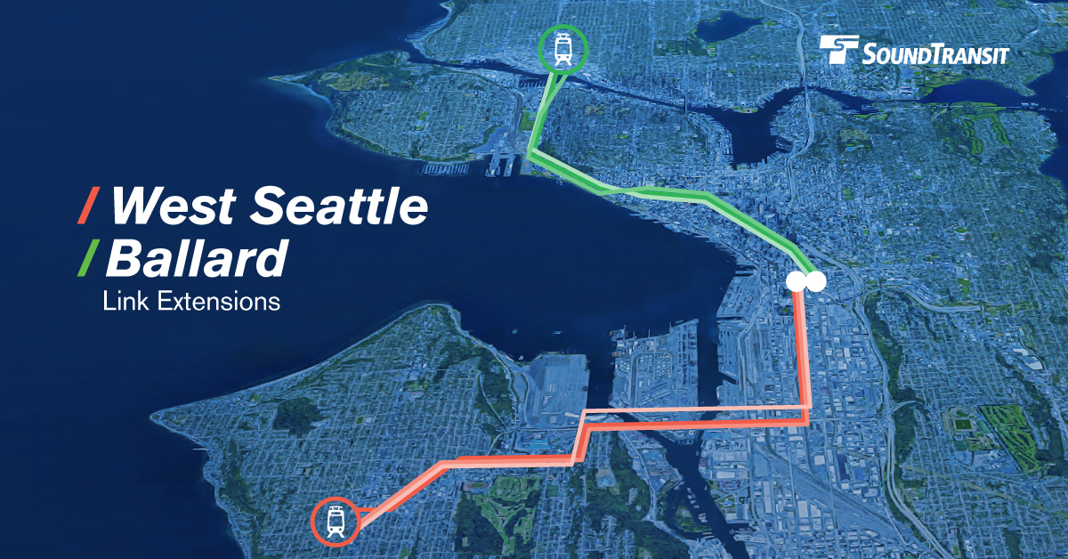 Aerial map showing potential routes for the West Seattle and Ballard Link light rail extensions