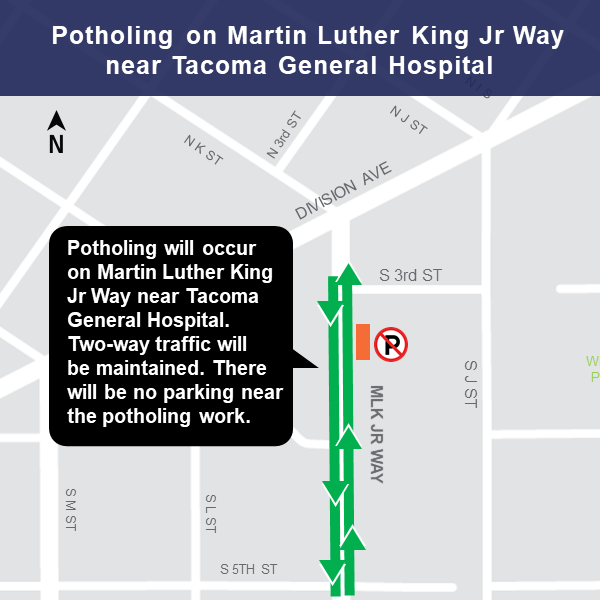 Martin Luther King Jr. Way near 3rd St lane restrictions map for potholing.