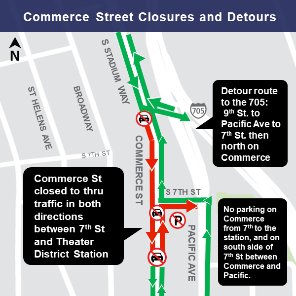 Commerce Street: 7th St. to I-705 on-ramp map