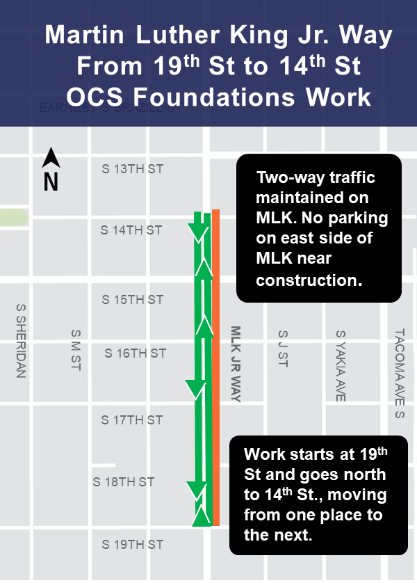 Martin Luther King Jr. Way in between 19th St and 14th St lane restrictions map.