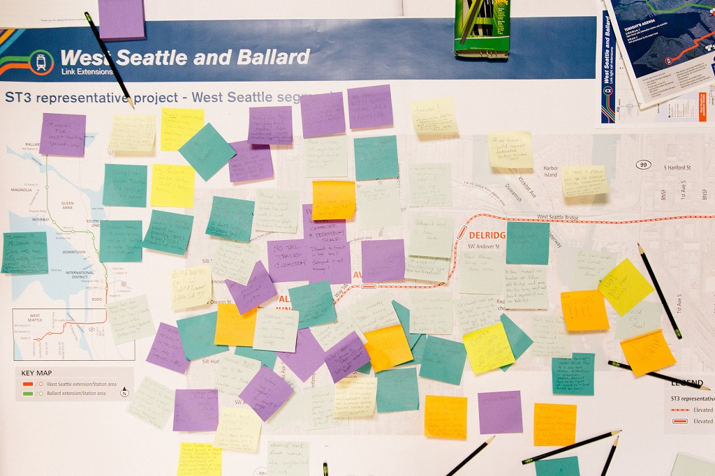 A map full of post-it notes showing suggestions for the West Seattle/Ballard extension