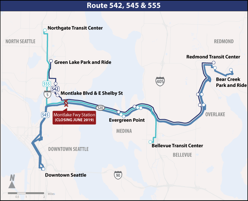 Map of Montlake Freeway Station closure service changes