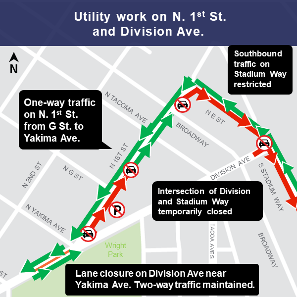 Map of utility work on N 1st and Division week of February 25