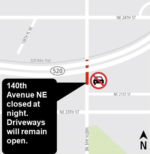 Map of construction at 140th Avenue Northeast.