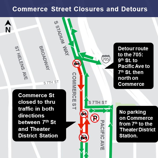 Commerce street closures map