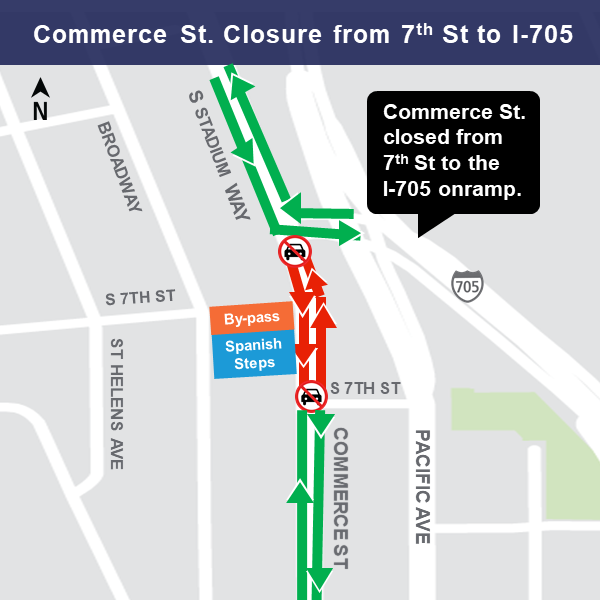 Map of construction impact at Commerce Street.