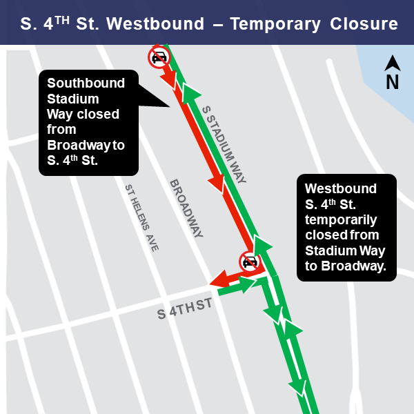 South 4th Street closure map