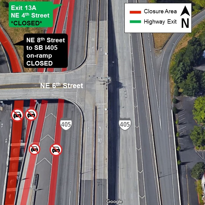 Map of night closure area of I-405 in Bellevue, March 2019