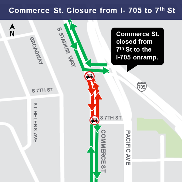 Map of Commerce Street closure area, March 11, 2019