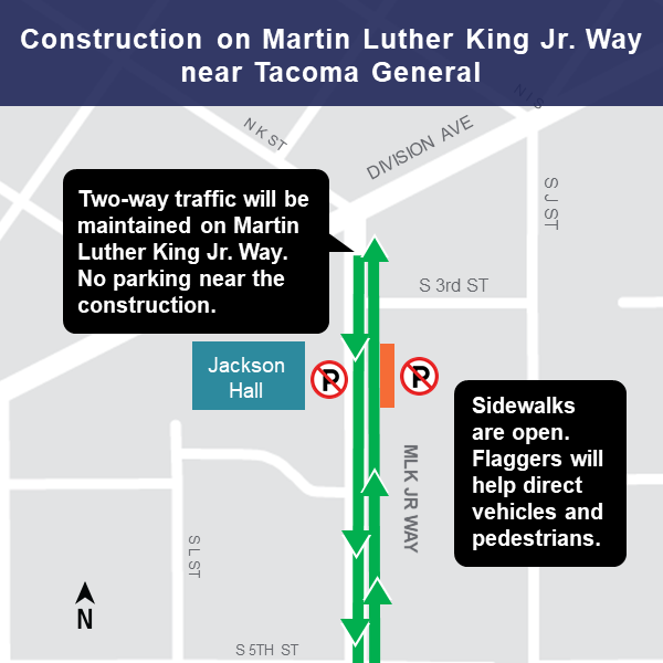 Map of construction area on Martin Luther King Jr. Way in Tacoma near Tacoma General, March 2019