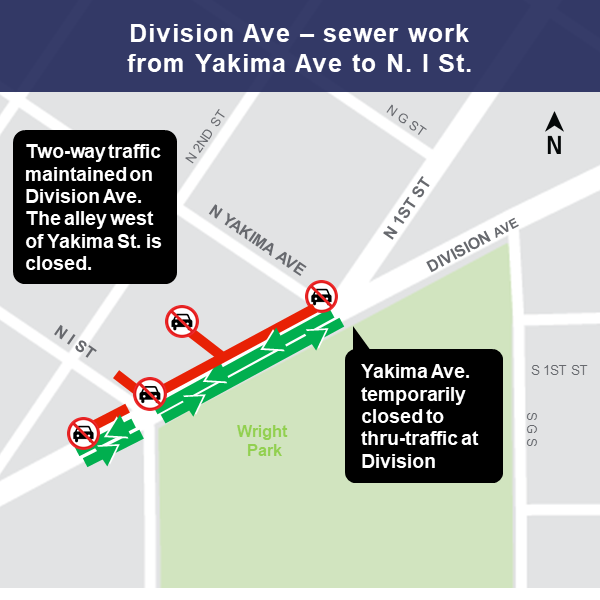Map of Division Street lane closure, March 11, 2019