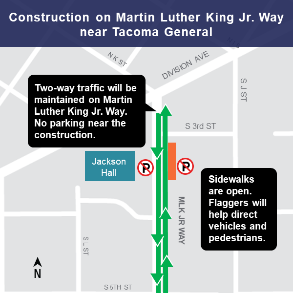 Map of Martin Luther King Jr. Way lane restriction, Tacoma, March 11, 2019