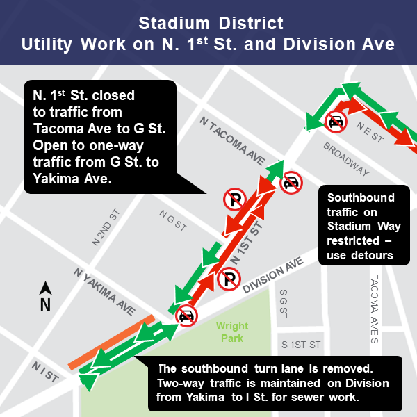 Map of N. 1st St. closure area, March 11, 2019
