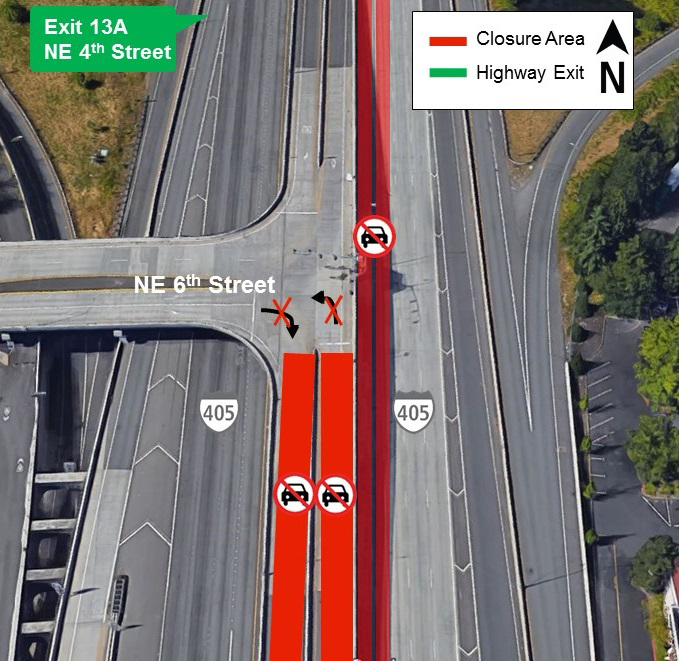Map of lane closures on I-405 in downtown Bellevue.