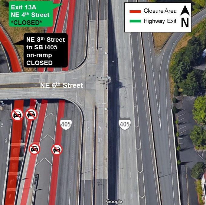 Map of lane and ramp closures for I-405 from April 22 to April 23, 2019.