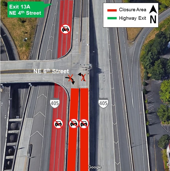 Map of lane and ramp closures for I-405 from April 24 to April 25, 2019.
