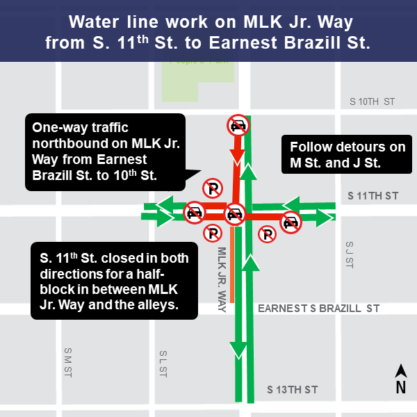 Map of Martin Luther King Jr. Way and 11th Street construction impacts.