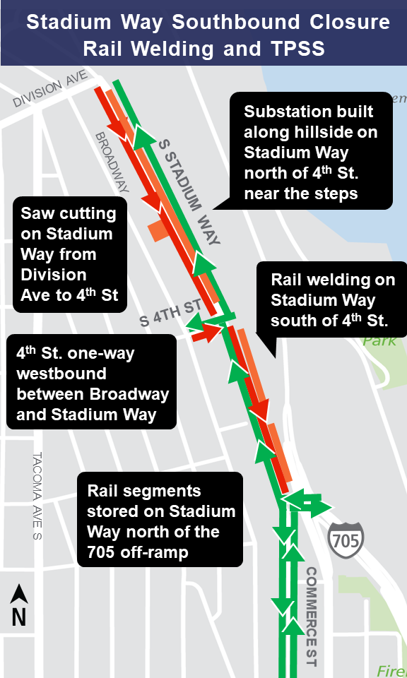 Map of Stadium Way construction impacts.