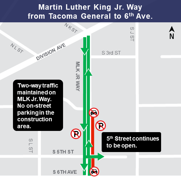 Map of waterline work on Martin Luther King Jr. Way.