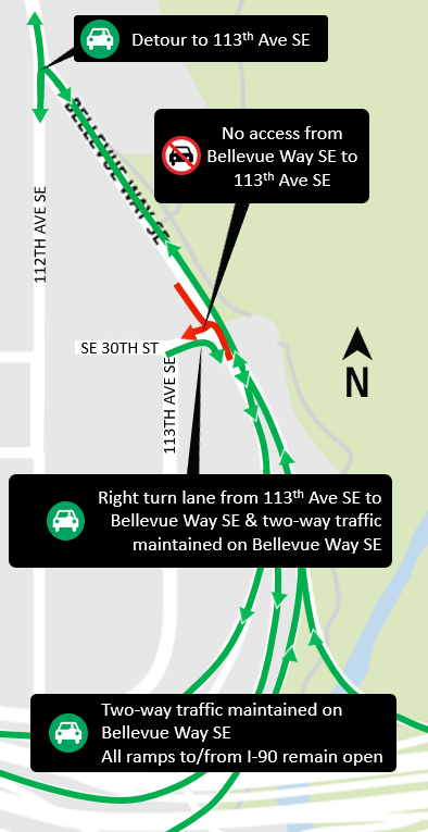 Map of paving closures on Bellevue Way Southeast.