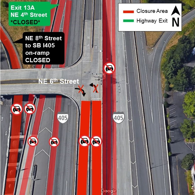 Map of June 3rd closures on I-405 in downtown Bellevue.
