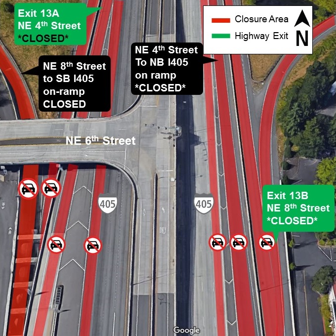 Map of June 6th closures on I-405 in downtown Bellevue.