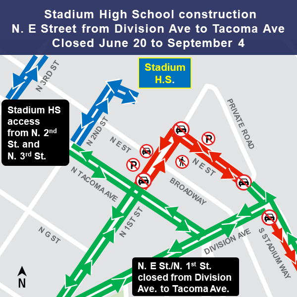Map of construction impacts to streets around Stadium High School in Tacoma.