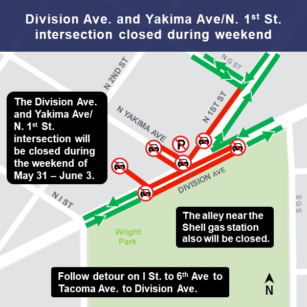 Map of intersection closure and detour for Division Avenue and Yakima Avenue/North 1st Street.