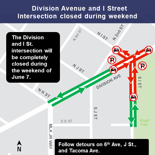 Map of intersection closure at Division Avenue and I Street.