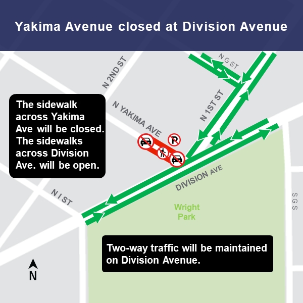 Map of closure of Yakima Avenue at Division Avenue.