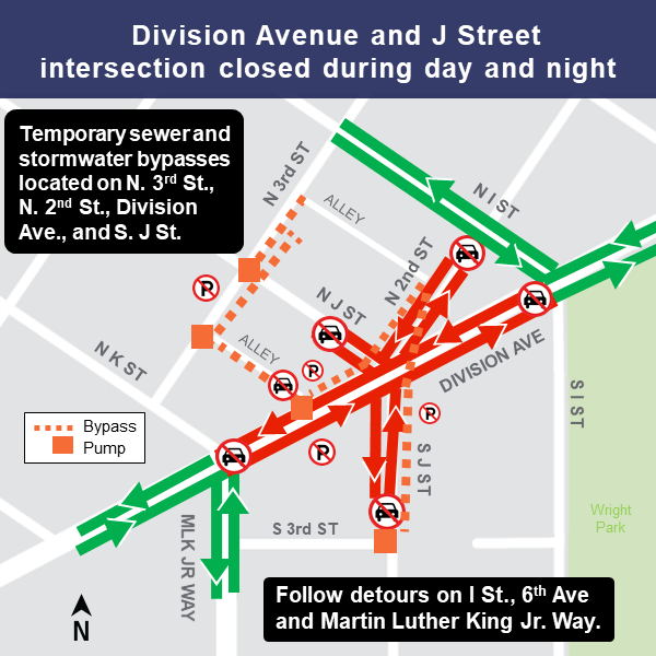 Map of Division Avenue and J Street intersection closure.