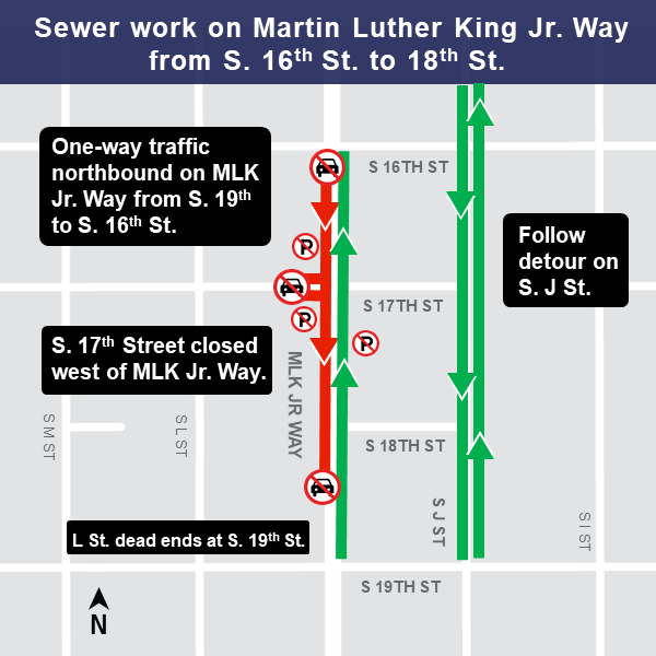 Map of sewer work on Martin Luther King Jr. Way.