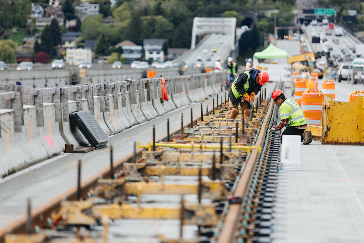 Tracks for link light rail stretch across the I-90 floating bridge.