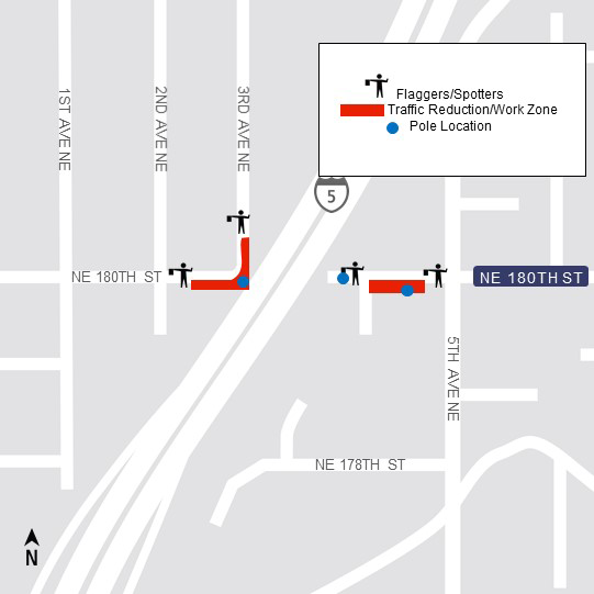 Map of traffic reductions along Northeast 180th Street.