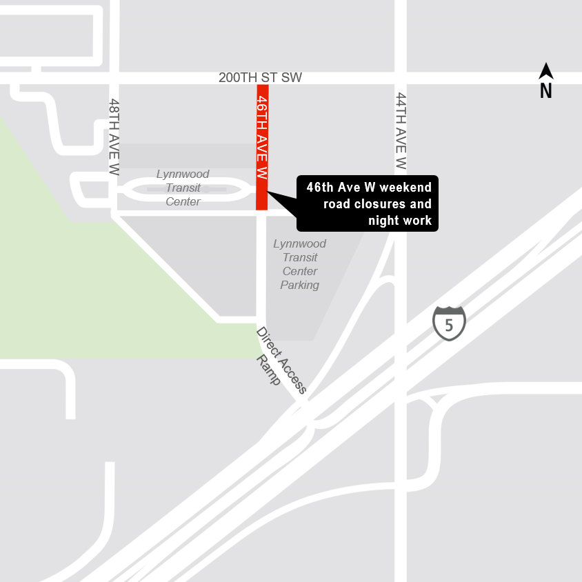 Map of road closure at the Lynnwood Transit Center.