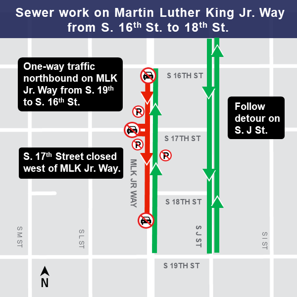 Map of Martin Luther King, Jr Way from S 16th St to 18th St
