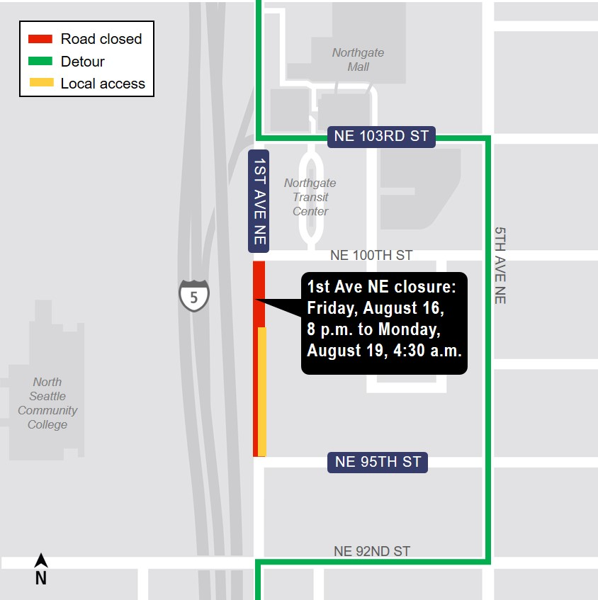 Map of 1st Ave Northeast closure area